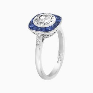 Antique Inspired Platinum Halo Ring-Blue Sapphire