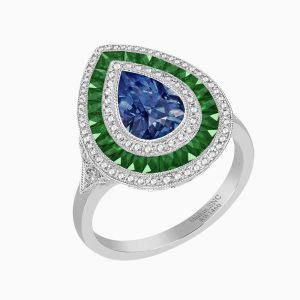 Antique Style Pear Diamond Ring With Blue Sapphire Center Stone