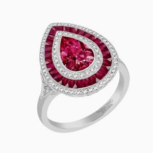 Antique Style Pear Diamond Ring With Ruby Center Stone