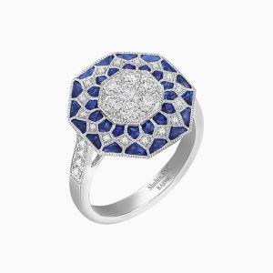 Platinum Art Deco Inspired Octagonal shaped Ring - Illusion Setting