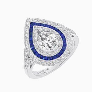 Art Deco Inspired Pear Diamond Ring