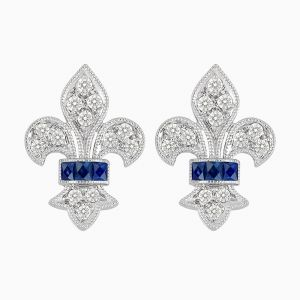 Vintage Inspired Stud Diamond Earrings - Blue Sapphire