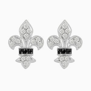 Vintage Inspired Stud Diamond Earrings - Onyx