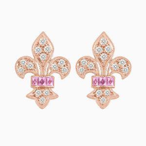 Vintage Inspired Stud Diamond Earrings - Pink