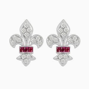 Vintage Inspired Stud Diamond Earrings - Ruby
