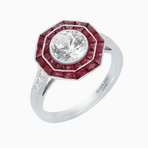 Platinum Art Deco Inspired Diamond Ring-Ruby