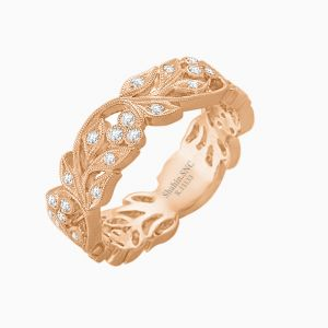 Two Tone Vintage Floral Wedding Band
