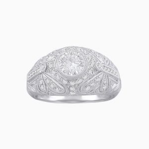 Hand Engraved Dome Ring with ButterFly Shank