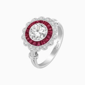Antique Flower Engagement Ring-Ruby
