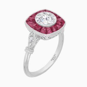 Antique Inspired Platinum Halo Diamond Ring