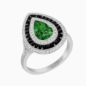 Antique Style Pear Diamond Ring With Emerald Center Stone