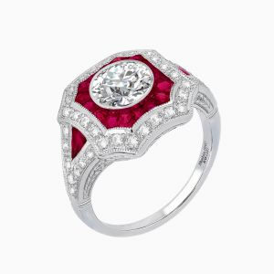 Art Deco Style Round Diamond Engagement Ring