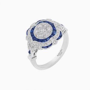 Platinum Vintage Diamond Ring - Illusion Setting
