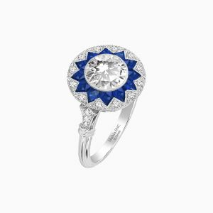 Art Deco Style Round Diamond Star Design Ring