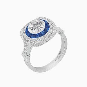 Art Deco Inspired Cousin Shape Ring
