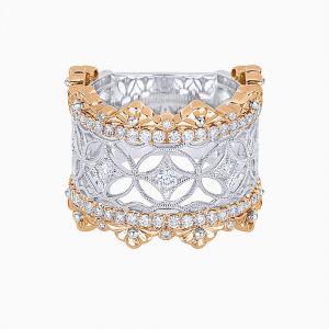Geometric Designs filigree Ring With Diamonds