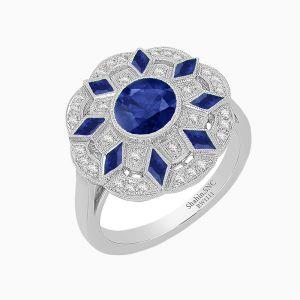 Flower Petal Inspired Cocktail Ring - Blue Sapphire