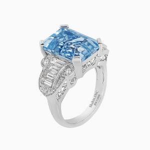 Vintage Style Emerald Cut Aquamarine Diamond Ring